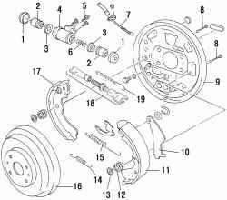 Барабанный тормозной механизм заднего колеса типа LT18C