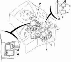 Компоновочная схема гидроагрегата ABS: 1 — гидроагрегат; 2 — блок реле; 3 — реле управления электромагнитными клапанами; 4 — реле включения насоса; штуцеры подсоединения тормозных механизмов колес