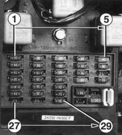 Расположение и нумерация предохранителей в монтажном блоке в салоне автомобиля
