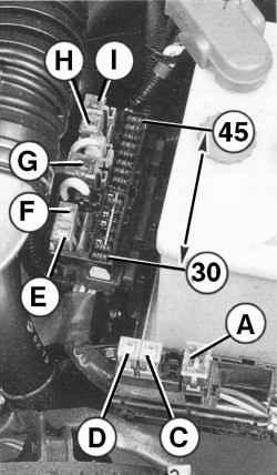 Расположение и нумерация предохранителей в монтажном блоке моторного отсека