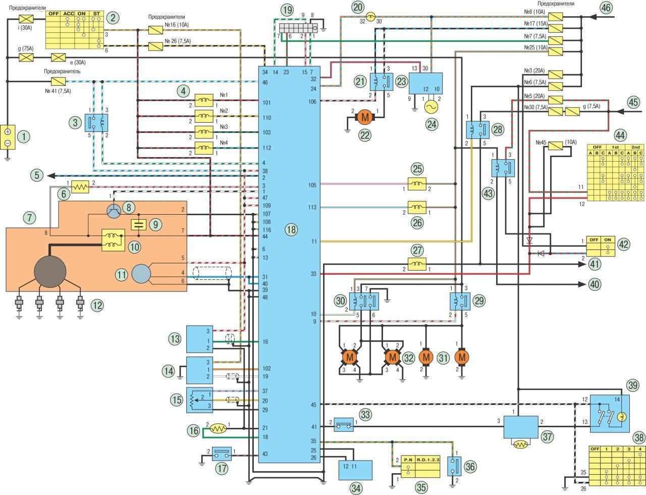Схема Nissan ECCS двигателей GA14DE b и /b GA16DE.