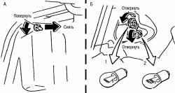 Замена ламп заднего указателя поворота (1) и стоп-сигнала (2) в кузове седан