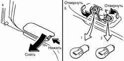 Замена ламп заднего противотуманного света (1) и света заднего хода (2) кузова хэтчбек