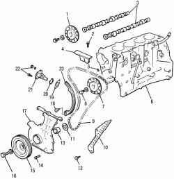 Детали привода механизма газораспределения двигателя SR20DE