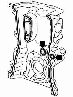 Зона нанесения слоя герметика на переднюю крышку привода распределительных валов и места установки уплотнительных колец