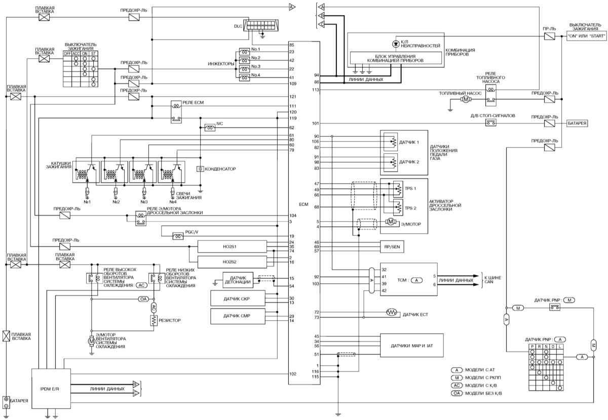 Отдельные цепи системы управления двигателем.  Бортовое электрооборудование Micra.