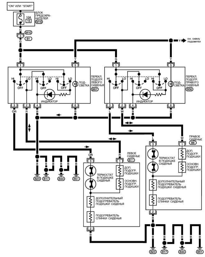 Цепь отопителя моделей с К/В с