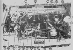 2.2 Вид двигателя V61. Защелки   крышки   воздушного фильтра2. Гайки крышки воздушного фильтра3. Пневмопривод термостата воздуховода4. Воздуховод5. Бачок гидропривода тормозов6. Бачок гидропривода сцепления7. Бачок омывателя ветрового стекла