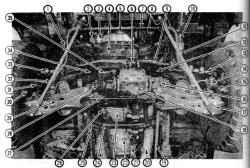 2.3 Вид снизу передней части автомобиля с колесной формулой 4x4 и 4- цилиндровым двигателем1. Маятниковый рычаг2. Генератор3. Масляный насос4. Поперечина переднего редуктора5. Шкив коленвала6.  Опора поперечины переднего редуктора7.  Стабили