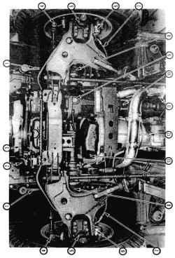 Вид снизу передней части автомобиля с колесной формулой 4x4 и двигателем V61. Маятниковый рычаг (с масленкой)2. Нижний шланг радиатора3. Ремень4. Наконечник рулевой тяги5. Шаровая опора рычага подвески6. Суппорт7. Шланг тормоза8. Чехол пол