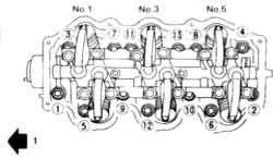 13.7а Порядок отпускания болтов головки цилиндров1. К передней части