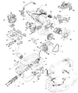 7.1а Навесные агрегаты 4-цилиндрового двигателя 1. Выпускной коллектор 2. Насос охлаждающей жидкости 3. Вентилятор 4. Ремень 5. Регулировочный кронштейн генератора 6. Генератор 7. Золотник вентиляции картера 8. Датчик давления масла 9. Трубка вентиляции 1