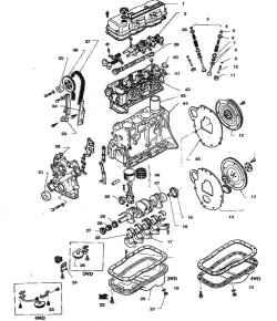 7.16 Детали 4-цилиндрового  двигателя1.  Крышка головки цилиндров2. Валики с коромыслами3. Пружины  и  клапаны4.  Выпускной клапан5. Сухарь6. Тарелка7. Колпачок8. Шайба пружины9. Кольцо10. Втулка11.Седло12. Маховик13. Гидротр