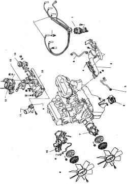7.1в Навесные  агрегаты  двигателя VS1. Распределитель зажигания2. Выпускной коллектор3. Трубка рециркуляции4. Прокладка5. Трубка эжекции воздуха6. Подушка опоры7. Насос  охлаждающей  жидкости (для заднеприводных а/м)8 . Уплотнитель9 .