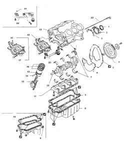 7.1 г Детали двигателя V61 . Сальник2. Держатель сальника3. Прокладка4. Маховик (ведущий диск гидротрансформатора)5. Задняя пластина (в полноприводных а/м устанавливается на герметике)6. Крышка7. Коренной подшипник8. Поддон (для заднеприво