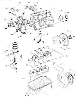 7.1д Детали двигателя К241. Шайба ведущего диска2. Ведущий диск3,7- Задняя пластина4. Коренные подшипники5. Крышка6. Маховик (для а/м с механической КПП)8. Поддон9. Пробка10. Каркас крышек коренных подшипников11. Коленвал12. Шатунный