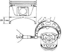 15.9 Измерение диаметра поршня. Диаметр измеряется перпендикулярно оси пальца 1.20,3  мм