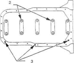 17.4а Места нанесения номеров размерных групп коренных подшипников на 4-цилиндровых двигателях1.  К передней части двигателя2. Группа В3. Размерная группа коренных шеек