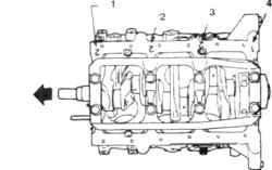17.5б Места нанесения номеров размерных групп I коренных подшипников на двигателях V61. Размерная группа 1 -го подшипника2. К передней части двигателя