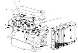 1.2 Система охлаждения 4-цилиндровых двигателей1.  Термостат2. От отопителя3. К отопителю4. Корпус заслонки5. Клапан термостата
