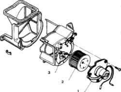 11.3а Вентилятор  отопителя1. Электродвигатель2. Колесо3. Добавочный резистор, устанавливается так, чтобы стрелка была направлена вверх.