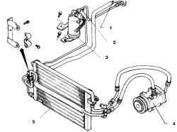 13.3а Система кондиционирования автомобилей раннего выпуска1.  Клапан для откачки магистрали (низкого давления)2. Клапан высокого давления3. Влагоотделитель4. Компрессор5. Конденсатор