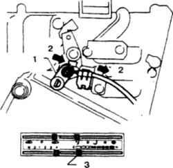 19.12 Регулировка троса терморегулятора1. Смесительная заслонка2. Подать3. Положение максимального охлаждения