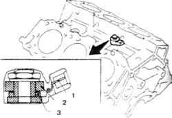 10.8 Датчик детонации на двигателе V6 1.  Вывод  2. Противовес 3. Пьезоэлемент