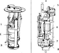 10.16 Топливный насос 1,5. Демпфер  2,7. Насос   3. Фильтр  4. Выход 6. Электродвигатель 8. Редукционный клапан 9 .  Вход
