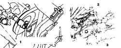 10.20 Датчик давления в гидроусилителе 1. Разъем датчика 2. Датчик 3. Рулевой механизм