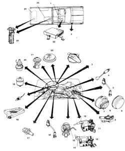 10.22б Расположение агрегатов система впрыска с предварительным приготовлением горючей смеси  на  4цилиндровом двигателе 1 .  Сиденье помощника 2. Аварийное реле 3. Детали системы впрыска