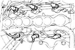 13.23 Разъемы форсунок на двигателе V6