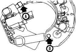 16.6 Регулятор крепится к выпрямителю пайкой (А) и заклепкой (В)
