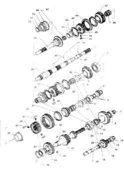 4.17а Детали КПП FS5W71B/C (до 1993 г.) 1. Подшипник вторичного вала 2,13,16. Упорная шайба 3. Подшипник ведомой шестерни 5-й передачи 4. Ведущая шестерня редуктора спидометра 5,12,51,53,56. Стопорное кольцо 6,7. Гайка 8. Задний подшипник промежуточного в