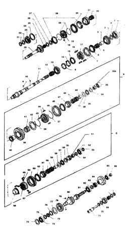 4.176 Детали КПП FS5W71B/C (после 1993 г.) 1.  Подшипник вторичного вала  2,13,16. Упорная шайба 3. Ведомая шестерня 1 -й передачи 4. Втулка 5,12,32. Игольчатый подшипник  6,28. Блокирующее кольцо синхронизатора  7,30. Муфта синхронизатора 8. Внутреннее б
