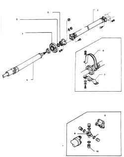 10.1 Карданный вал А  -  Модели 3S63H, 3S80B и 3S71A 1. Средняя опора 2. Шайба 3. Фланец 4. Задняя секция вала 5. Передняя секция вала 6. Хомут средней опоры 7. Кронштейн 8. Крестовина 9. Стопорное кольцо 10. Подшипник