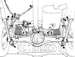 17.8 Задний мост (стрелками указаны разбираемые соединения при снятии моста)