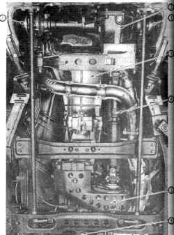 1.1б Вид снизу ходовой части автомобиля 4x4 1. Передний мост 2. Передний редуктор 3. Трансмиссия 4. Передний карданный вал 5. Раздаточная коробка 6. Задний карданный вал