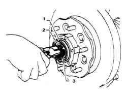 2.4 После снятия корпуса достаньте стопорное кольцо, шайбы и поводок В 1. Поводок В 2. Стопорное кольцо 3. Шайба А