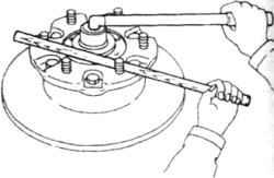 6.3 Фиксация ступицы при отворачивании гайки