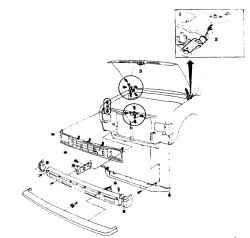 4.2 Детали передней облицовки кузова и регулировки капота (1987-88  г.г.) 1.  Петли капота 2. Регулировка капота 3. При снятии удалите решетку воздухозаборника 3. При установке решетки достаньте защелки и вставьте в отверстия в решетке (фото). Опустите ре