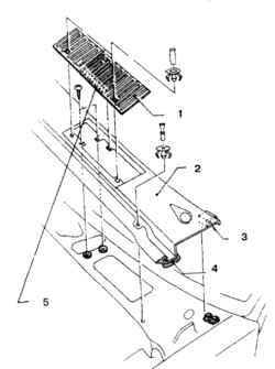 6.3 Детали решетки воздухозаборника1. Решетка2. Крышка воздухозаборника3. Фиксатор4. Уплотнитель5. Клейкая (с обеих сторон) лента