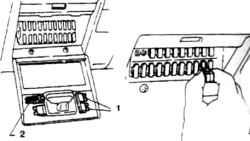 3.1б Монтажный блок 1. Запасные предохранители 2. Пинцет