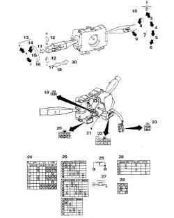 6.3 Таблица проверки, промежуточные положения и разводка разъемов переключателей указателя поворота, стеклоочистителя, света фар и фонарей и круиз - контроля (на автомобилях 1987-88 г.г.).1 .  Очиститель2.