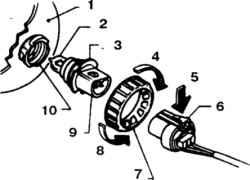 9.6 Детали крепления галогенной лампы1. Рефлектор2. Стеклянная колба3. Лампа4. Зафиксировать5. Надавить и достать6.Назъем7. Кольцевая гайка8. Вывернуть9. Пластмассовый цоколь10. Патрон