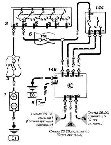 Ремонт и обслуживание/ Opel Astra B 1998-2004 14.27.  Принципиальные схемы электрических соединений.