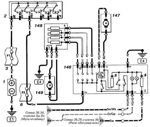 Рис. 1. Cхема электрическая принципиальная СИСТЕМЫ ОТОПЛЕНИЯ (Astra бензин) .