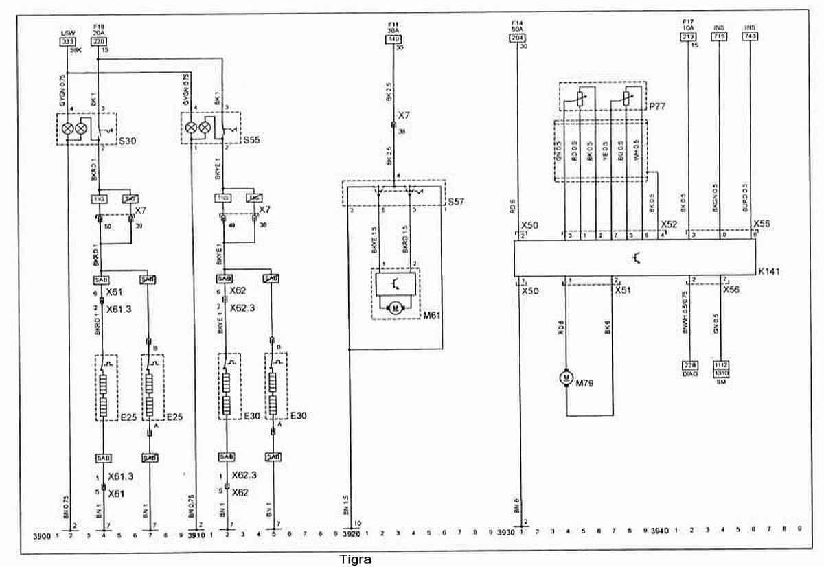 Электрические схемы для opel tigra схемы