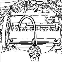Проверка потери давления в двигателе (двигатель 1,8 л)