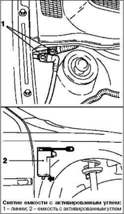 Снятие и установка емкости с активированным углем